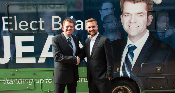 Wildrose leader Brian Jean campaigned with Derek Fildebrandt in Strathmore-Brooks on the first day of the 2015 election. (Photo from Brian Jean's Facebook Page).