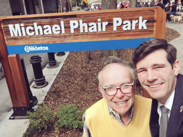 Michael Phair and Mayor Don Iveson at the unveiling of Michael Phair Park (photo from @doniveson on Twitter)