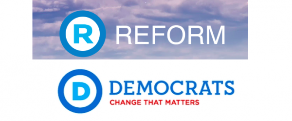 Perhaps hoping to capitalize on Hillary Clintons candidacy, the Reform Party of Alberta logo, shown above, is remarkably similar to the American Democratic Party's logo.