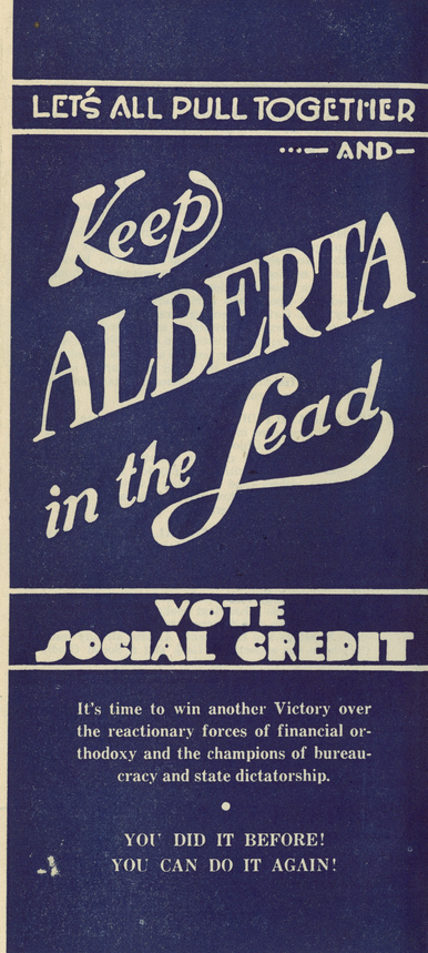 A Social Credit advertisement from Alberta's 1944 election.
