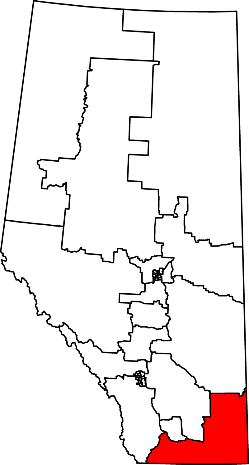 The map of Medicine Hat-Carston-Warner riding.