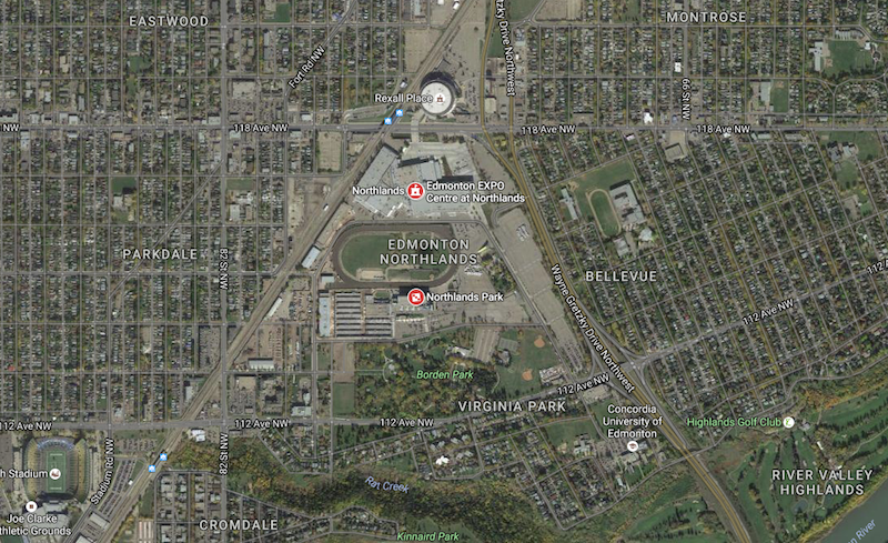 A satellite photo of Northlands and the residential neighbourhoods that surround it. (Source: Google Maps)