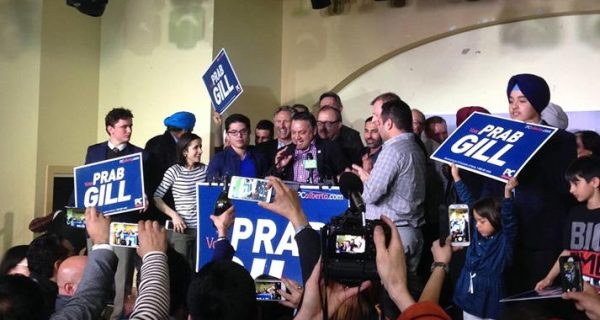 PC candidate Prabhdeep Gill on election night after winning the Calgary-Greenway by-election on March 22, 2016.