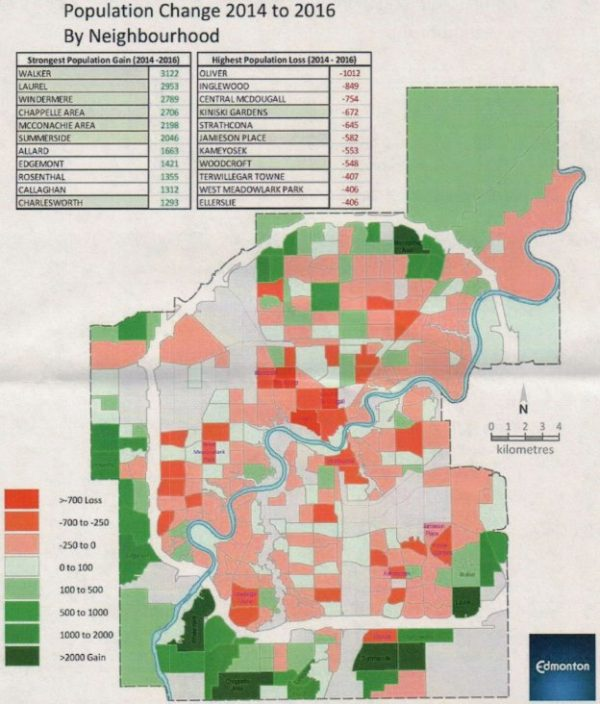 Neighbourhood population change in Edmonton from 2014 to 2016 (image from blog.mastermaq.ca)