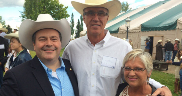 Conservative candidate Glen Motz (centre) with MP and PC leadership candidate Jason Kenney and Sue Motz.