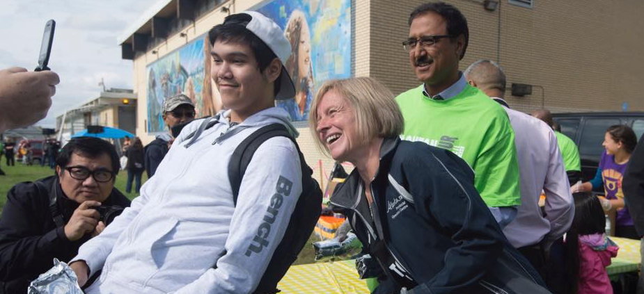 Rachel Notley poses for a photo at the Edmonton & District Labour Council BBQ on Labour Day in Edmonton.