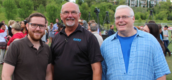 Dave Cournoyer (left) with two teachers who helped spark my interest in Alberta politics, Andrew Kaczynski (centre) and Al Meunier (right).