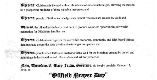 The text of the proclamation of Oilfield Prayer Day in the State of Oklahoma.