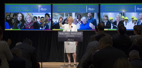Premier Rachel Notley speaks to a crowd of 700 at the Jack Singer Concert Hall in downtown Calgary earlier this week.