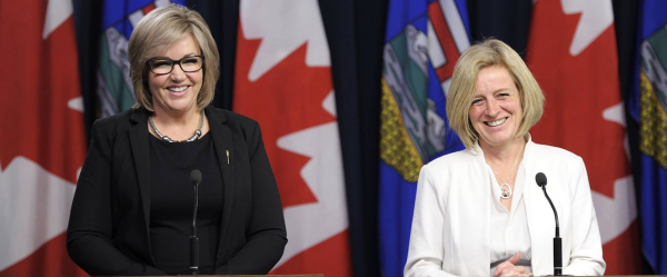 Sandra Jansen (left) and Premier Rachel Notley (right) at the press conference announcing the PC MLA had crossed the floor to join the NDP.