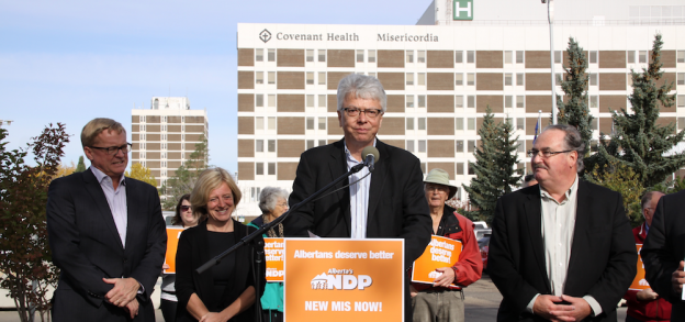 NDP MLAs stood behind by-election candidate Bob Turner at a campaign event in Sept. 2014. Left to right: David Eggen, Rachel Notley, Bob Turner, and Brian Mason.