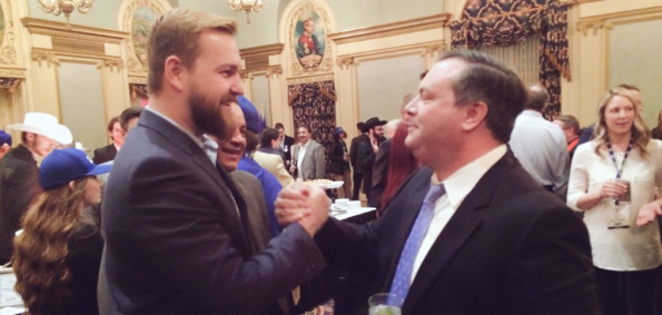 Wildrose MLA Derek Fildebrandt joined Jason Kenney on the eve of his victory in the PC Party leadership race. (Photo credit: @pcyouthalberta on Twitter)