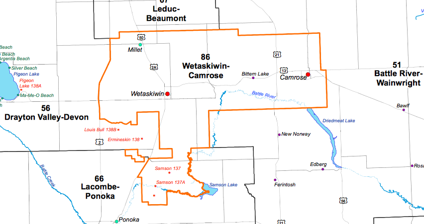 The Wetaskiwin-Camrose electoral district.