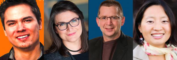 Edmonton municipal election candidates Aaron Paquette, Brandy Burdeniuk, Tim Cartmell and Keren Tang.