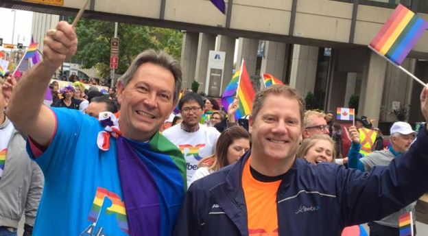 Former PC MLAs Richard Starke (left) and Rick Fraser (right) at the 2016 Calgary Pride Parade.