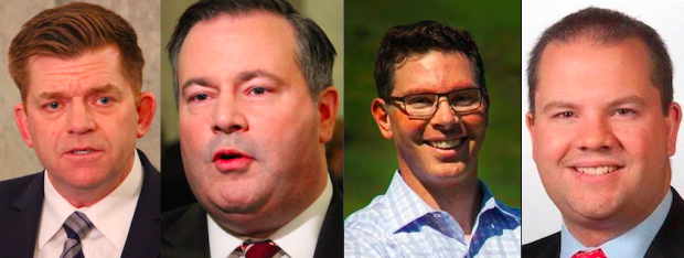 United Conservative Party leadership candidates Brian Jean, Jason Kenney, Doug Schweitzer and Jeff Callaway.
