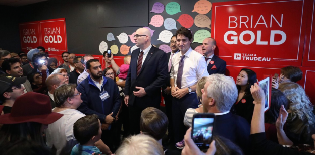 Liberal candidate Brian Gold and Prime Minister Justin Trudeau at a campaign event in Spruce Grove on October 20, 2017