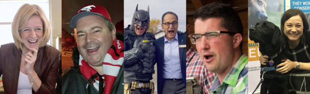 Rachel Notley, Jason Kenney, Batman, Joe Ceci, Nathan Cooper, and Shannon Phillips