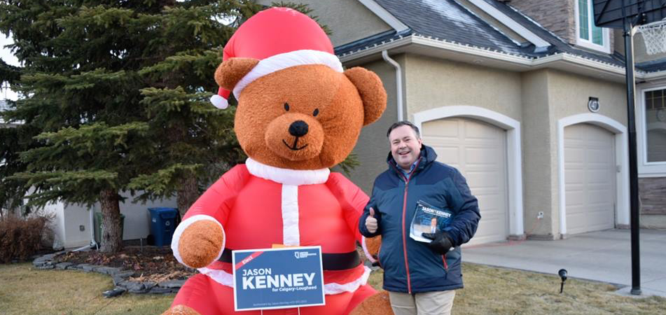 UCP leader Jason Kenney on the campaign trail in Calgary-Lougheed (photo from Facebook)