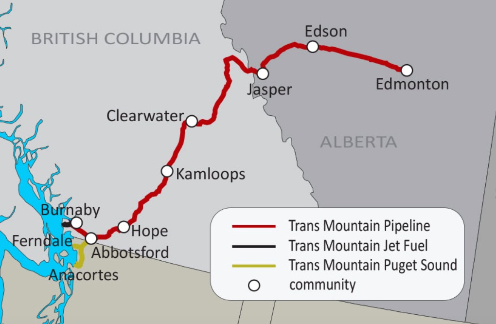 The route of the Kinder Morgan Trans Mountain Pipeline from Edmonton to Burnaby.
