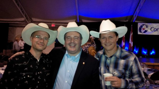 Photo: Jason Kenney (centre) and Devon Dreeshen (right). (Photo source: Twitter)