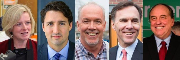 Rachel Notley, Justin Trudeau, John Horgan Bill Morneau and Andrew Weaver.