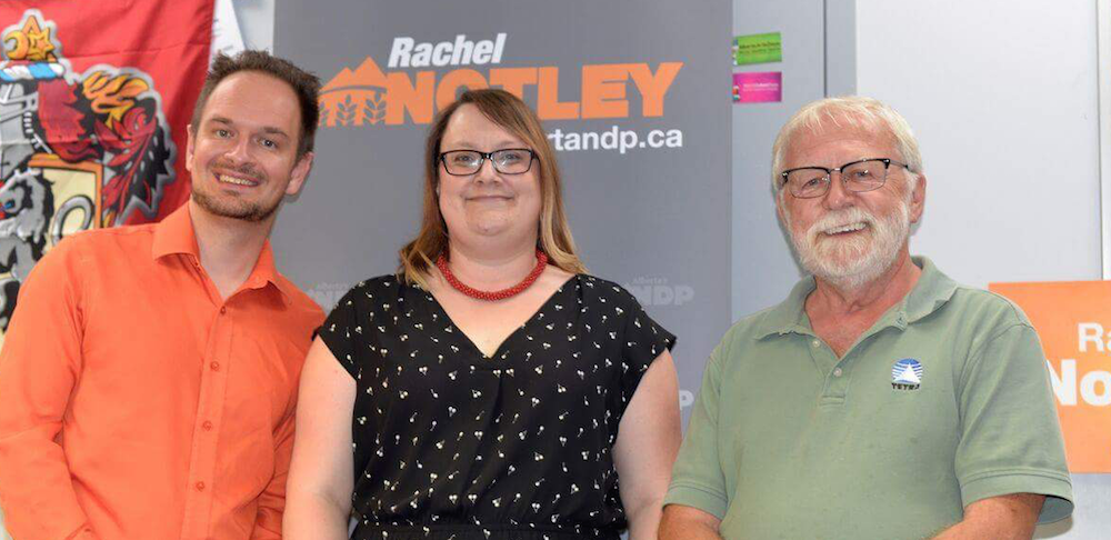Service Alberta Minister Brian Malkinson, NDP candidate Nicole Mooney and former NDP MLA John Younie.
