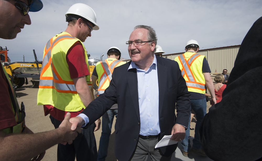 Brian Mason at the opening ceremony marking the completion of the north-east leg of the Anthony Henday ring road in Edmonton. (photograph by Chris Schwarz/Government of Alberta)