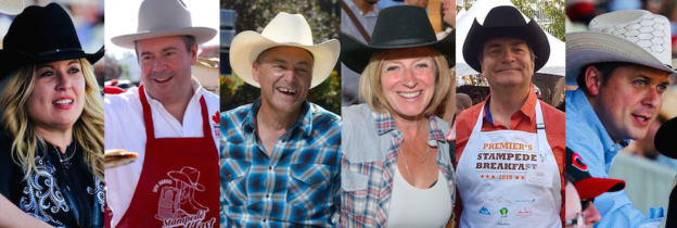 Michelle Rempel, Jason Kenney, Joe Ceci, Rachel Notley, Oneil Carlier and Andrew Scheer (sources: Facebook, Twitter, and Alberta Beef)