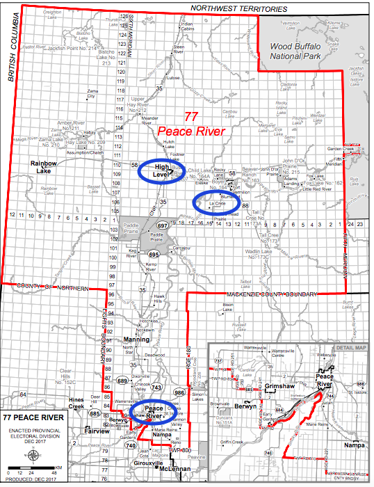 The new Peace River district. UCP voting stations circled in blue.