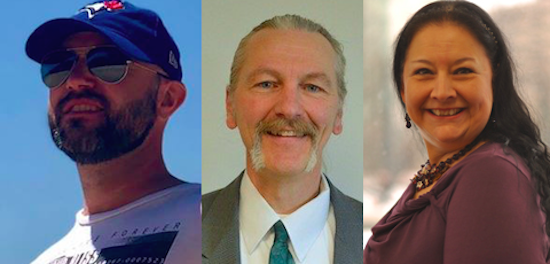 Alberta Green Party leadership candidates 2018 Matt Leviki, Brian Deheer, and Cheryle Chagnon-Greyeyes.