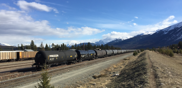 A train of oil cars parked at the CN yards near Jasper, Alberta.