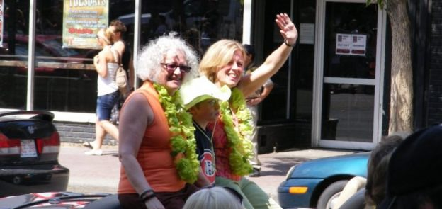 MP Linda Duncan and MLA Rachel Notley at Edmonton's Pride Parade.
