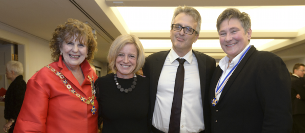 Lieutenant Governor Lois Mitchell, Alberta Premier Rachel Notley, Notley's husband Lou Arab, and kd lang.