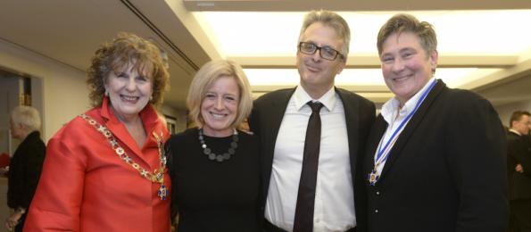 Lieutenant Governor Lois Mitchell, Alberta Premier Rachel Notley, Notley's husband Lou Arab, and kd lang.