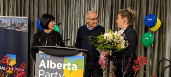 Lynn Mandel, Alberta Party leader Stephen Mandel, and MLA Karen McPherson.