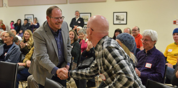 Cam Westhead at his nomination meeting in Banff-Kananaskis (photo source: Alberta NDP on Twitter)