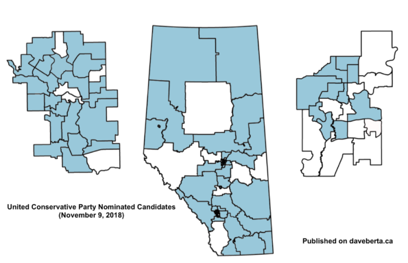 United Conservative Party Nominated Election Candidates (as of November 9, 2018)