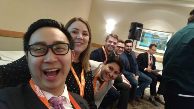 Thomas Dang with some of his NDP MLA colleagues at the recent party convention in Edmonton.