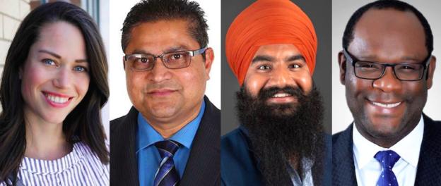 Alberta Election Candidates Caylan Ford, Peter Singh, Parmeet Singh Boparai, and Kaycee Madu