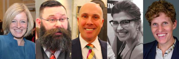 Daveberta Best of Alberta Politics 2018 Survey Winners: Rachel Notley, Greg Clark, Shaye Anderson, Jessica Littlewood, and Janis Irwin