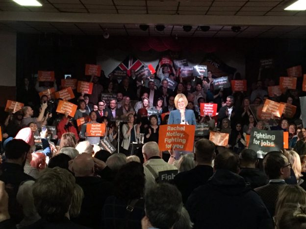 Premier Rachel Notley delivered a pre-campaign speech at a rally in downtown Calgary (photo credit: @SKGreer on Twitter)