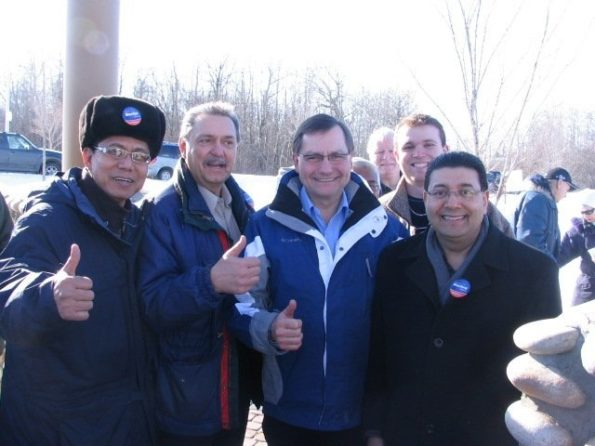 Gene Zwozdesky (second from the left) with PC candidates Carl Benito, TJ Keil and Naresh Bhardwaj, and Premier Ed Stelmach at a Feb. 2008 campaign event at Jackie Parker Park.