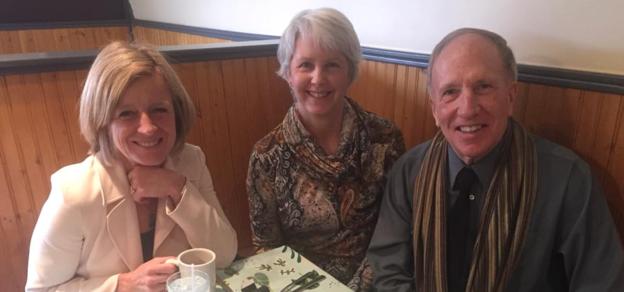 Premier Rachel Notley and Wetaskiwin-Camrose MLA Bruce Hinkley and his wife Janet (source: Facebook)