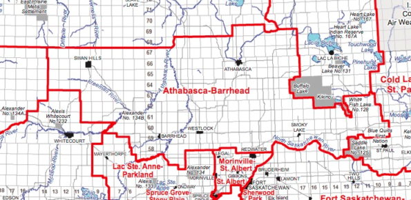 A map of the new Athabasca-Barrhead-Westlock district