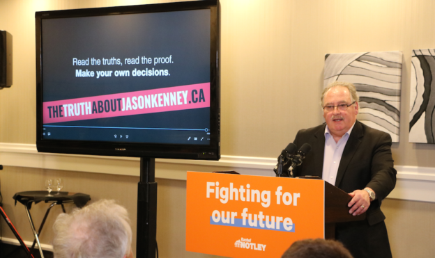 NDP MLA Brian Mason launches the NDP campaign TheTruthAboutJasonKenney.ca