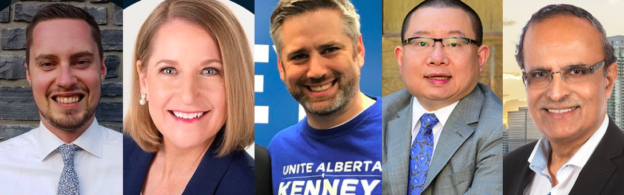 Calgary-North UCP candidates: Devin Green, Tanis Fiss, Paul Frank, Jun Lin, and Muhammad Yaseen.