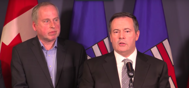 Appointed UCP candidate Len Rhodes and UCP leader Jason Kenney.