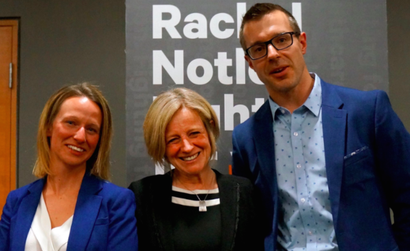 Rachel Notley (centre), with Grande Prairie NDP nomination candidates Melissa Byers and Todd Russell.