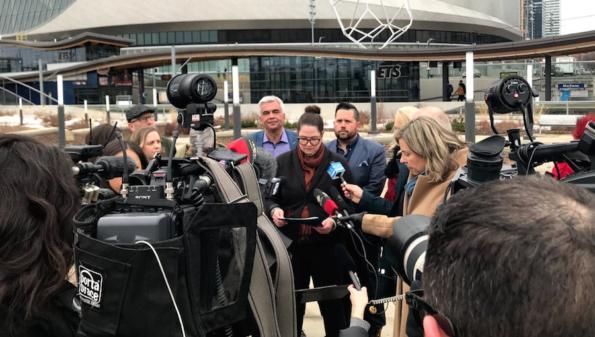 Trustee Bridget Stirling speaks at a press conference in Edmonton.